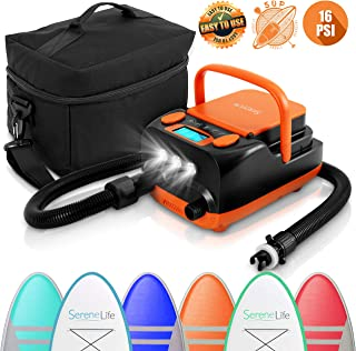 SereneLife Electric SUP Air Pump Compressor - 16PSI Rechargeable SUP Pump 12V Stand Up Paddle Board Electric Pump Inflator/Deflator - Portable Air Compressor for SUP, Boat, Pool Inflatables SLPUMP50