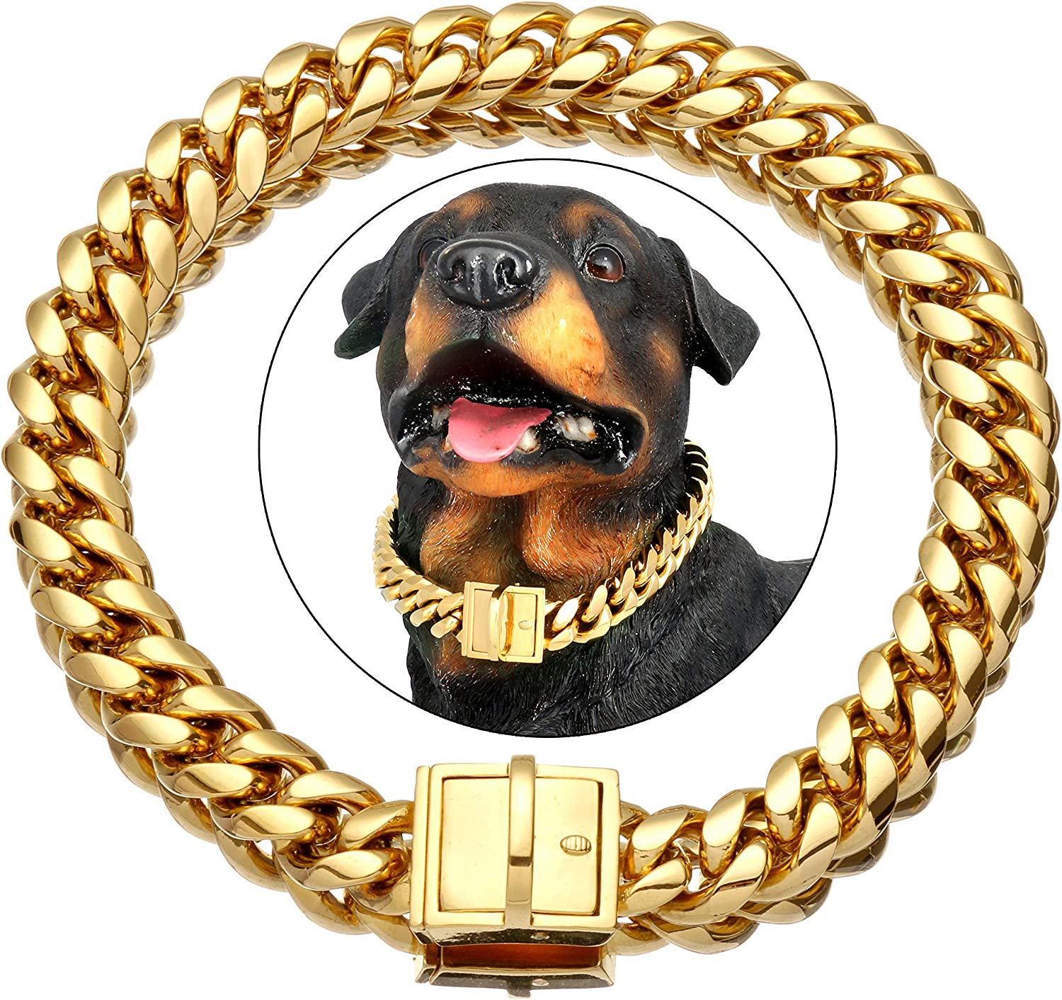 New York Mall NIKPET Gold Dog Chain Collar Custo Tags Large-scale sale ID with Personalized
