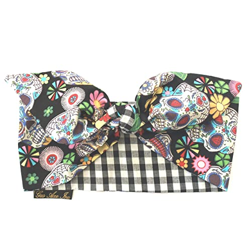 dc035abf591a Gas Axe Inc Sugar Skull Gingham Black Head Scarf Tie