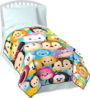Jay Franco Tsum Mash Up Teal Flannel/Silk Touch Blanket-Measures 62 x 90 inches, Kids Bedding Features-Fade Resistant Super Soft Fleece-(Official Disney Product), Multi Faces