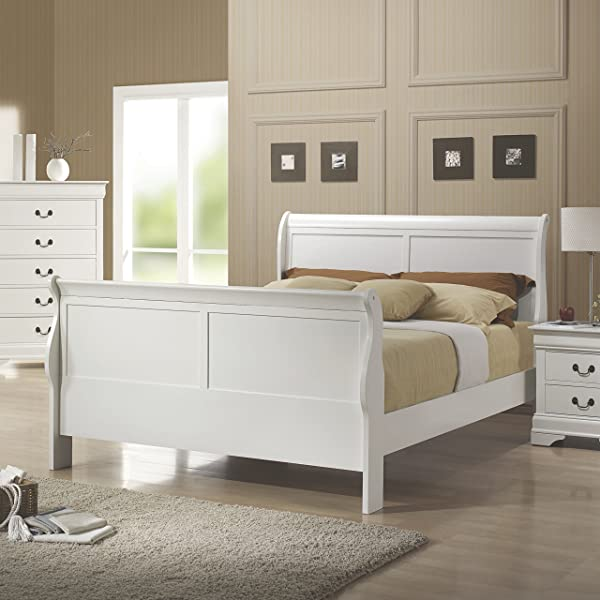 Louis Philippe Full Sleigh Bed White