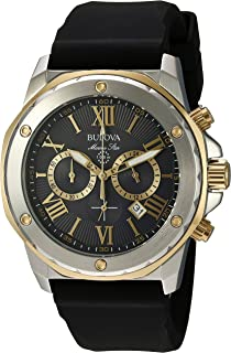 Bulova Men's Stainless Steel Analog-Quartz Watch with Silicone Strap, Black, 24 (Model: 98B277)