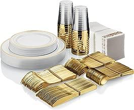 225 Piece Gold Disposable Dinnerware Set | Plastic Tableware for 25 Guests | 50 Gold Rim Plastic Plates, 25 Gold Rimmed Plastic Cups, 25 Gold Plastic Silverware Sets, 50 Paper Napkins