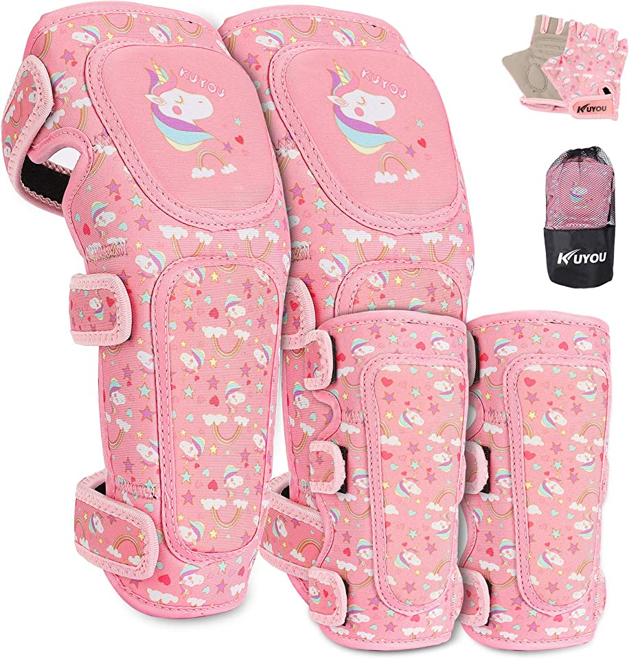 Kids Protective Gear Set, Innovative Soft Youth Toddler Knee Pads and Elbow Pads Wrist Guards Adjustable Protective Gear Set with Bike Gloves for Boys Girls Roller Skating Skateboard Cycling Biking