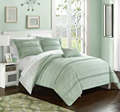 Chic Home 4 Piece Eliza Pleated and Ruffled Reversible Paisely Floral Print Queen Duvet Cover Set Green Shams and Decorati...