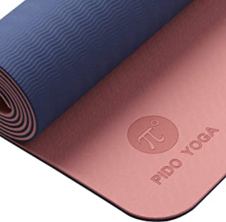 """PIDO TPE Yoga Mat ECO Friendly SGS Certified Non Slip Yoga Mats with Carrying Strap 72""""x24"""" Extra Thick 1/4"""" for Yoga Pila..."""