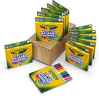 Crayola Ultra Clean Washable Markers, Broad Line, 12 Pack, 10 Colors