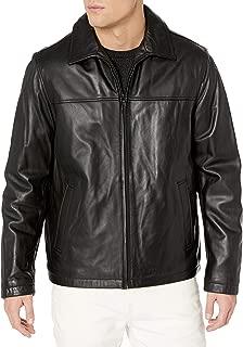 Men's Smooth Lamb Leather Laydown Collar Open Bottom Jacket
