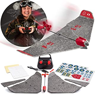 FAO Schwarz DIY Foam RC Airplane Kit with Real Motorized Propeller, Build Your Own Flying Plane with Rechargeable Battery, Customize and Decorate with Decals and Stickers