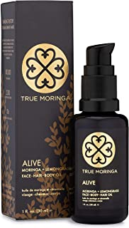 True Moringa Oil (Alive - Lemongrass), 100% Pure Cold-Pressed Moringa Oil for Face, Body, Hair, 1 oz.(30 mL)
