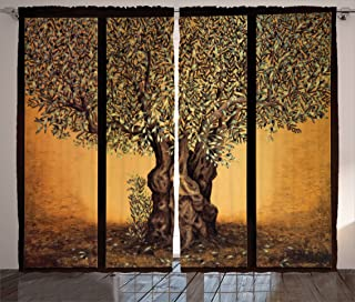 Ambesonne Tree of Life Curtains, Triptych of Old Mature Olive Tree Mediterranean Greece Style Nature Graphic, Living Room Bedroom Window Drapes 2 Panel Set, 108