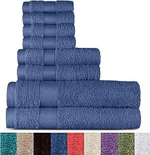 100% Cotton 8 Piece Towel Set (Cobalt); 2 Bath Towels, 2 Hand Towels and 4 Washcloths, Machine Washable, Super Soft by WELHOME