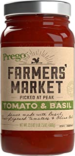 Prego Farmers' Market Tomato & Basil Sauce, 23.5 Ounce Jar (Pack of 6)