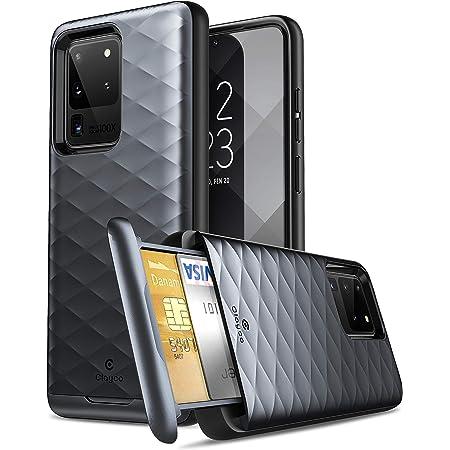 Galaxy S20 Ultra ケース、Clayco [Argos シリーズ] プレミアムハイブリッド保護ウォレットケース Samsung Galaxy S20 Ultra (クレジットカード/IDカードスロット内蔵) (ブラック)