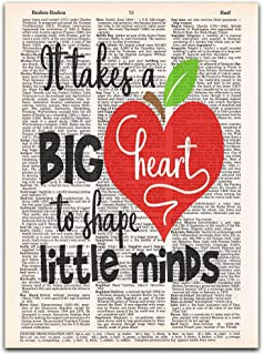 It Takes a Big Heart, Teacher Appreciation Gift, Dictionary Page Art Print, 8x11 inches, Unframed