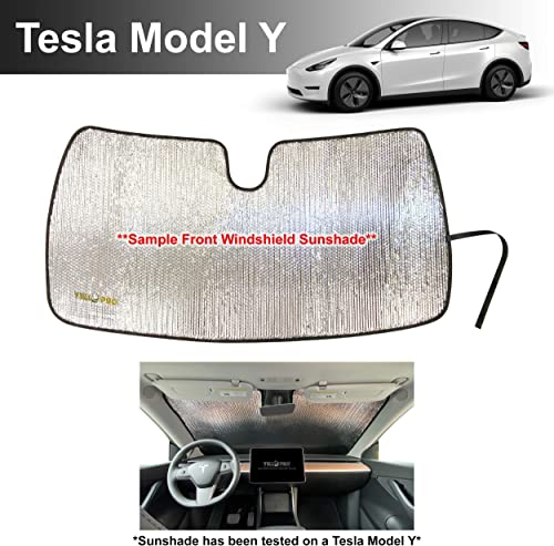 lowest YelloPro outlet online sale Custom Fit Reflective new arrival Front Windshield Sunshade for 2020 2021 Tesla Model Y SUV, Sun Protection UV Reflector Accessories [Made in USA] outlet online sale