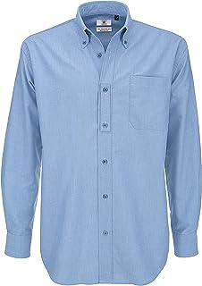 B&C Men's Long Sleeve Shirt Business, Blue (Oxford Blue 000), 16 (Size:Large)
