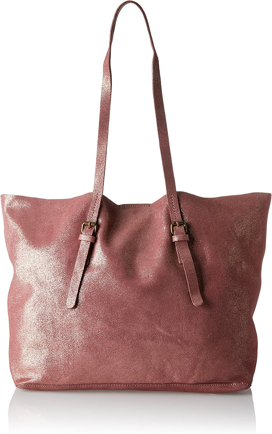 Esprit Women's Women's Red Suede Shopper With Glitter 100% Leather
