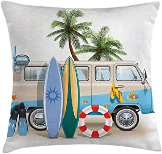 Ambesonne Surf Throw Pillow Cushion Cover, Surfing Weekend Concept with Diving Elements Fins Snorkeling and Van Trip Relax Peace, Decorative Square Accent Pillow Case, 20 X 20 Inches, Multicolor