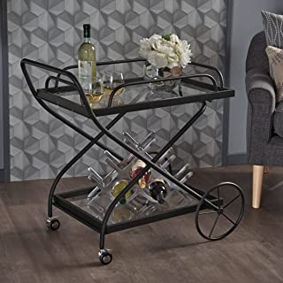 Christopher Knight Home 302576 Presley Indoor Traditional Black Iron Bar Cart with Tempered Glass Shelves