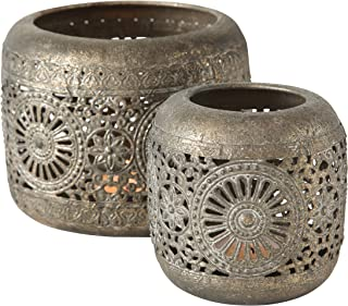 Daisy Mandala Hurricane Lantern Set, Lattice Metal Work, Distressed Gold, White Gray Patina, Iron, 1- large 5.5 Diameter x 4.25 Tall inches, and 2 - Small 3.5 Diameter x 4 Tall inches
