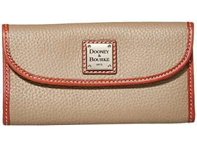 Dooney & Bourke Pebble Continental Clutch (Light Taupe/Tan Trim) Clutch Handbags