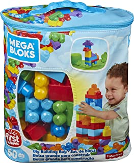 Mega Bloks DCH55 Big Building Bag, Blue, 60 Pieces