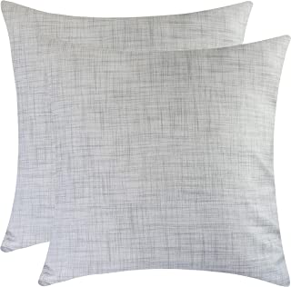 The White Petals Grey Pillow Cases for Sofa, Couch & Bed (18x18 inch, Pack of 2)