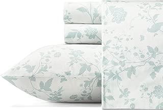 Laura Ashley Garden Palace Cotton Sateen Sheet Set, Queen, Pastel Blue
