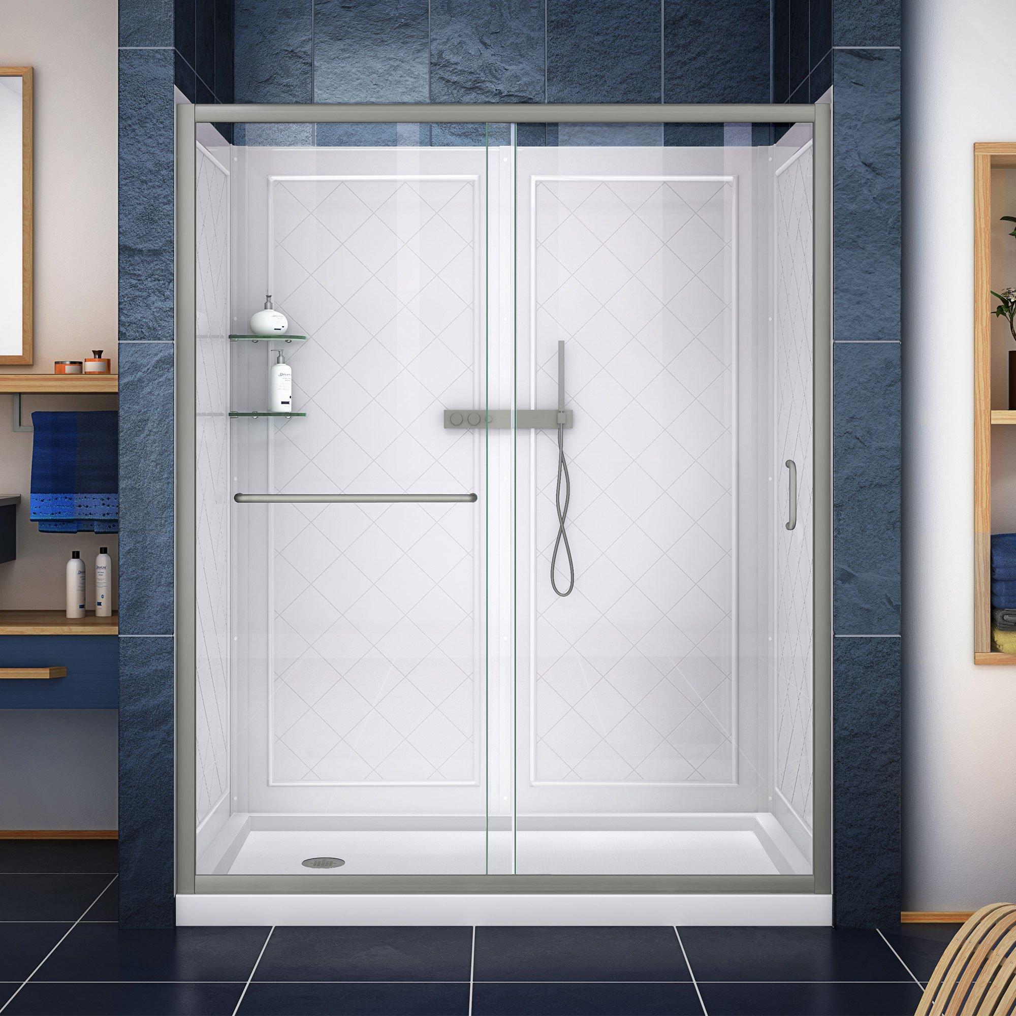 Dreamline Dl 6119l 04cl Shower Door Base And Backwalls 36 In D X 60 In W Brushed Nickel Walk In Shower Kits Amazon Com