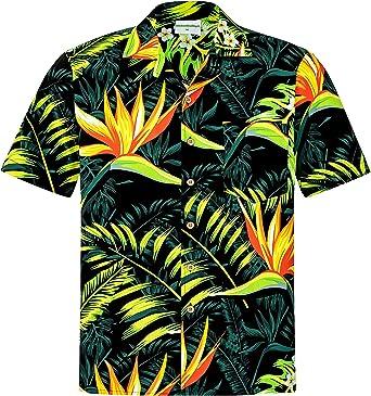 Camisa Hawaiana | Hombre | Manga Corta | 100% Algodón | S - 8XL | Ave del Paraiso | Flores | Flor | Negro | Hawaiiana | Hawaii | Barata