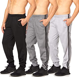 Essential Elements 3 Pack: Men's Tech Fleece Active Workout Athletic Gym Lounge Casual Jogger Sweatpants with Pockets