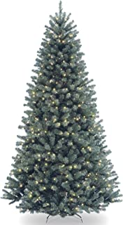 National Tree Company Pre-lit Artificial Christmas Tree   Includes Pre-strung White Lights and Stand   North Valley Blue S...