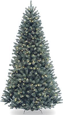 National Tree Company Pre-lit Artificial Christmas Tree | Includes Pre-strung White Lights and Stand | North Valley Blue Spruce - 7.5 ft