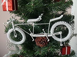 Unique Metal Crafts Gift Art Road Tandem LOVE Bike Model Wedding Christmas Tree Ornaments Decorations Decor Bicycle Cake topper Toys Artwork for Men/women/boys/girls/kids/cyclists/party supplies