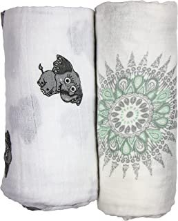 Babio Muslin & Bamboo Cotton 2 Pack Baby Swaddle Blanket Set - 47 inch x 47 inch - Blue/White/Grey