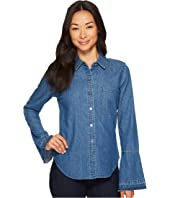 7 For All Mankind - Bell Sleeve Denim Shirt in Pico Blue