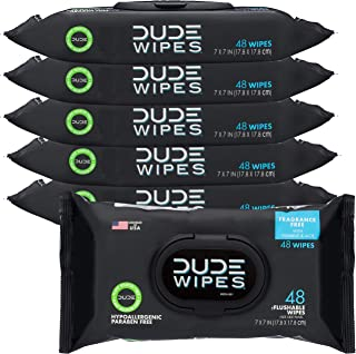 DUDE Wipes Flushable Wipes Dispenser, Unscented Wet Wipes with Vitamin-E & Aloe for at-Home Use, Septic and Sewer Safe, 48...
