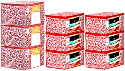 Heart Home Leaf Design Non Woven 6 Pieces Saree Cover and 3 Pieces Underbed Storage Bag, Cloth Organizer for Storage, Blanket Cover Combo Set (Red) - CTHH18058