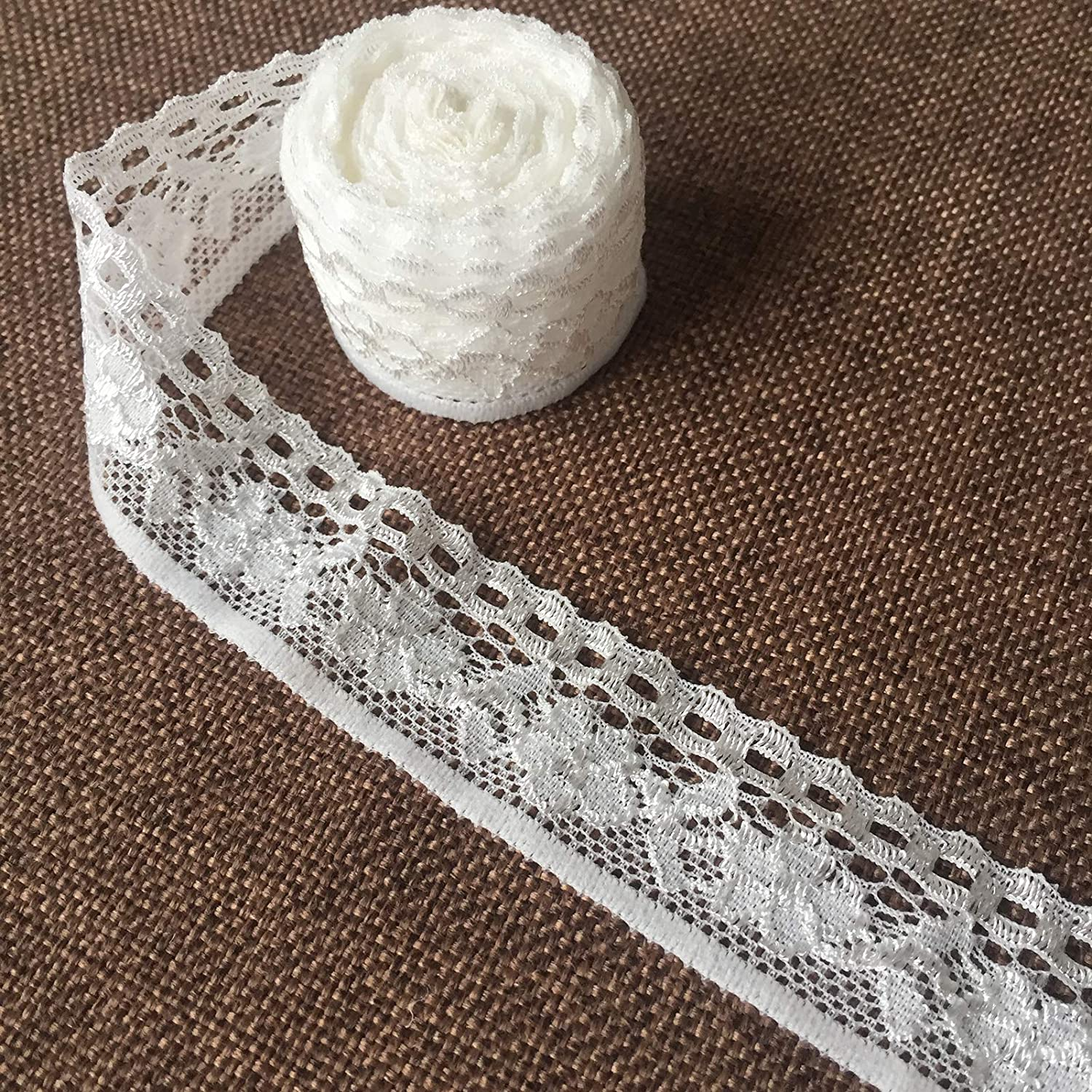 Olive Lace 1 inch Wide 20 Yards Black Trim lace Ribbon with Floral Pattern for Bridal Wedding Decorations Sewing DIY Making and DIY Crafts h741 Black