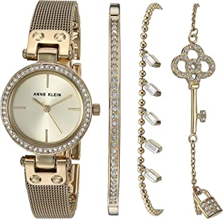 Anne Klein Women's Swarovski Crystal Accented Gold-Tone Mesh Watch and Bracelet Set, AK/3424GBST