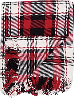 C&F Home Fireside Cotton Woven Red and Black Christmas Holiday Winter Lodge Cabin Everyday Woven Plaid Throw 50x60 Throw Red