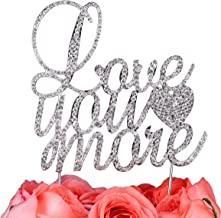 LOVENJOY Gift Boxed I Love You More Cake Topper Wedding Engagement Decoration, Silver