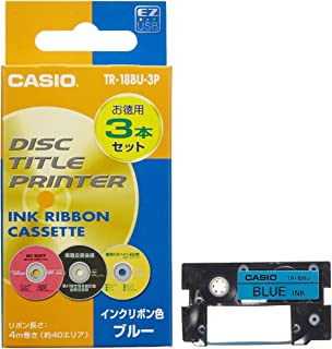 Entering three CASIO Casio DISC title printer for printing ink ribbon cassette TR-18BU-3P Blue (japan import)
