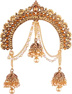 I Jewels Gold Plated Jhumki Hair Accessory Juda Pin with Chain for Women (SM34FL)