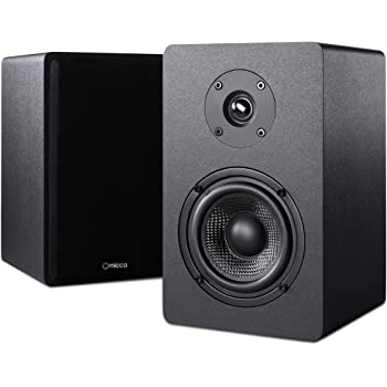 Micca PB42X Powered Bookshelf Speakers with 4-Inch Carbon Fiber Woofer and Silk Dome Tweeter (Pair)