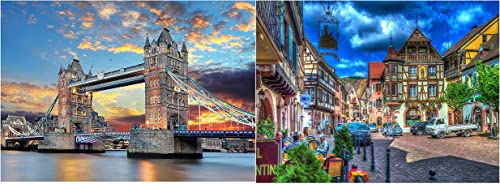 2021 Jigsaw Puzzles for Adults Jigsaw outlet sale Puzzles 1000 Pieces for Adults Educational Games High Definition Printing Ideal for high quality Relaxation, Hobby Gifts for Boys Adults Teens 1000 Pieces Tower Bridge+Alsace outlet sale