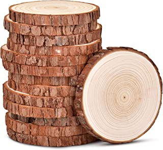 LESUMI Unfinished Natural Wood Slices 14 Pcs 3.5-4 inch Wooden Circles Craft kit Christmas Ornaments Rustic Wedding Decorations DIY Crafts Coasters