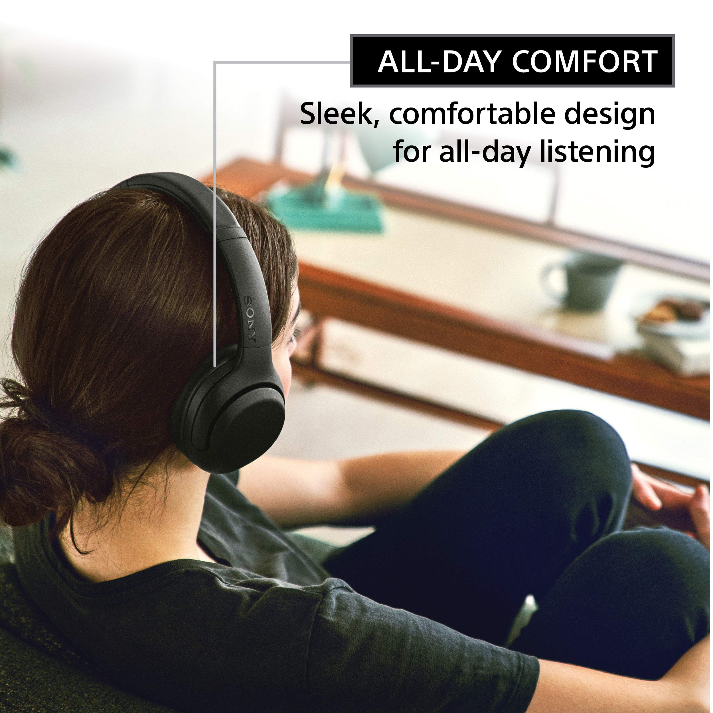 Sony WHXB900N Noise Cancelling Headphones, Wireless Bluetooth Over the Ear Headset with Mic for Phone-Call and Alexa Voice Control- Black (WH-XB900N/B)