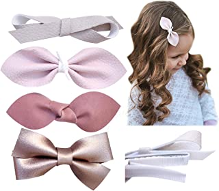 California Tot Premium Faux Leather Bow Hair Clips for Toddler, Girls, Mixed Set of 4 or 6…